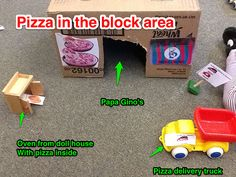 Pizza Play in the block area