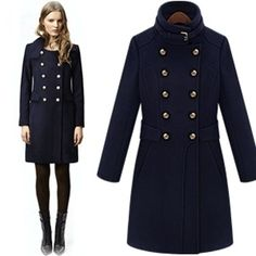 WBC094# Winter Women's Army Green / Royal Navy Blue Double ...