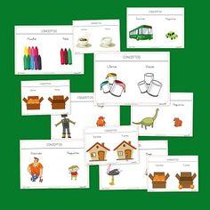 Printable cards to teach spacial concepts and adjectives in Spanish: Dentro-fuera. Delante-detrás. Arriba-Abajo. Muchos-pocos. Grande-pequeño. LLeno-Vacio.