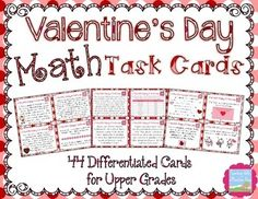Valentine's Day Mixed Review Math Task Cards for Upper Grades! Engage your upper grades students (Grades 4+) with these 44 Valentine's Day Math Task Cards! This differentiated set includes 24 cards that cover 4th grade Common Core Standards and 20 cards that cover 5th grade Common Core Standards, making them the perfect review, differentiation, and enrichment activity for grades 4-6.$