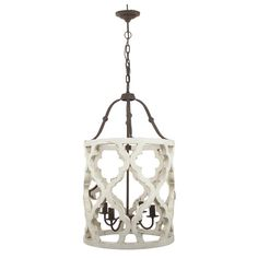 4 Light Quatrefoil White Distressed Chandelier Painted/French