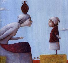 Ilustración de Miguel Ángel Díez para la obra La lechera, de Pepe Maestro.