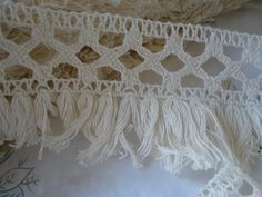 """Boho Crochet Criss Cross Lace & Tassel Fringe trim 2.5"""" wide cotton yards BTY sewing crafts costume home decor natural off white ecru by kabooco on Etsy"""