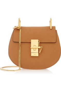drew mini schoulder bag f/w - Chloe Coach Handbags Outlet, Chloe Handbags, Mini Handbags, Chloe Purses, Brown Handbags, Beige Purses, Brown Leather Purses, Leather Bag, Saddle Leather