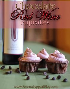 Chocolate Red Wine Cupcakes with Red Wine Buttercream Frosting