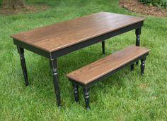 Black Farm Table with Turned Legs.   Solid Oak by FurnitureFarm, $399.00