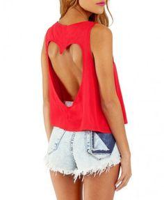 Red Sleeveless Heart Shape Cut-Out Crop Top