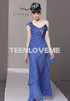 Backless Formal Dresses One-shoulder Bow Blue - Evening Dresses - Special Occasions