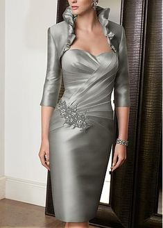 Elegant knee-length sweetheart Satin Mother of the Bride Dress <3 themarriedapp.com hearted <3