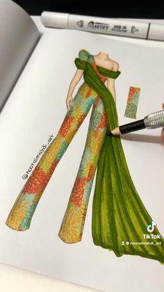 Dress Design Drawing, Dress Design Sketches, Fashion Design Sketchbook, Fashion Design Portfolio, Fashion Design Drawings, Fashion Sketches, Fashion Illustration Tutorial, Fashion Drawing Tutorial, Fashion Model Drawing
