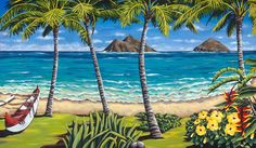 """Perfect Day to Paddle"" a painting by Kailua, Hawaii resident Susanne Ball.  Tropical Art Studio www.susanneball.com"