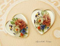 Vintage Mirrored Rose Flower Bouquet Heart by alyssabethsvintage, $2.35