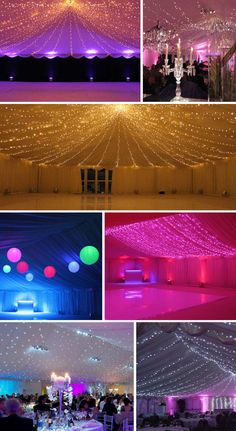 Marquee Lighting - - - Wedding canopies of lighting create an intimate and romantic setting for guests. Warm white bulbs with chiffon fabrics create a fairytale look, or darker fabrics create the illusion of stars. Adding flowers like babys breath nicely compliment the white romantic feel.