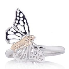 Clogau 9ct Rose Gold & Sterling Silver Butterfly Ring