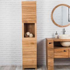 Colonne de salle de bain en teck HARMONIE - Bois clair - 190x40x40cm