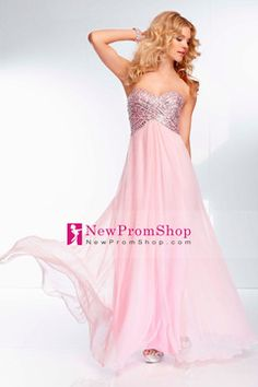 2014 Sequined Bodice Sweet Open Back A Line Long Chiffon Prom Dress