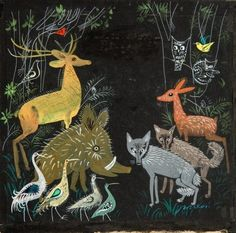 "Illustration by Józef Wilkoń for ""The Forest Flight"" by Hanna Łochocka (1963)"