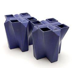 Blauw geglazuurde steengoed tulpentoren elementen 2x ontwerp uitvoering Jan van der Vaart 1989 uitvoering in eigen atelier