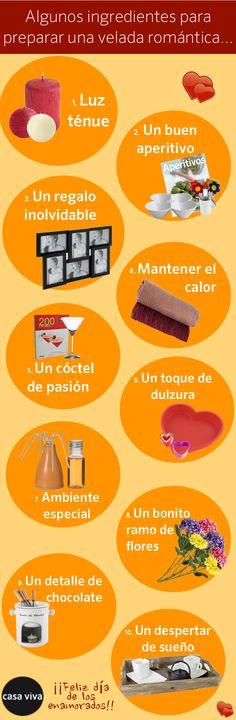 Ingredientes para preparar una velada romántica el día de San Valentín. Por @Casa Viva #SanValentin #Regalos #Pareja #Amor