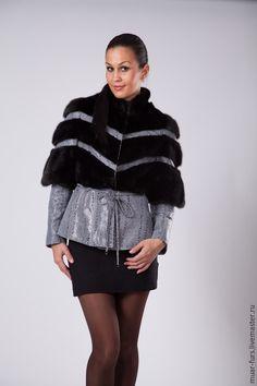 Купить Куртка из Норки с Кожей Диагональ - Норка, норковая шуба, куртка из меха, куртка с мехом