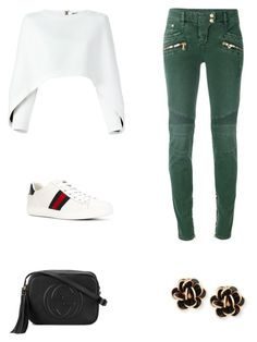 """""""Senza titolo #61"""" by annadallolio ❤ liked on Polyvore featuring Balmain, Gucci and Chantecler"""