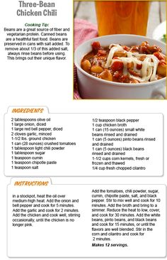 3 Bean Chicken Chili- my aunt says it is really good Stew Leonard's, Three Beans, Family Meals, Family Recipes, Vegetarian Protein, Good Food, Yummy Food, Recipe Details, Chicken Chili
