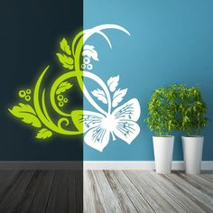 Glowing Vinyl Wall Decal Butterfly and Flowers Glow in Dark Vinyl Wall Decals, The Darkest, Glow, Sticker, Butterfly, Handmade Gifts, Flowers, Vintage, Etsy