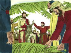 Free Bible illustrations at Free Bible images of Jesus riding into Jerusalem on a donkey while the crowds shout, 'Hosanna'.
