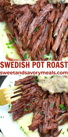 Swedish Pot Roast is oven-roasted until fork-tender before getting smothered in a creamy, buttery, and rich mushroom gravy. #potroast #swedishpotroast #potroastandgravy #sweetandsavorymeals #dinnerecipes