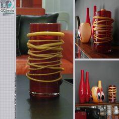 JARRA de vidro vermelho e com aplicações em vidro amarelo....muito bonita, sózinha ou em conjunto com outras peças www.facebook.com/objecta.segunda.mao/