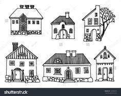 Cartoon Hand Drawing Houses Stock Vector 120399337 - Shutterstock
