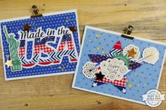 Hello friends, welcome to Inspiration Station, I'm Becki. I'm thrilled you've made your way here today. The 4th of July is right around the corner, and I have a couple of cards to share with you today that I know you'll love. I created them with a few bits and pieces from the new America …