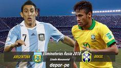 Argentina y Brasil serán los protagonistas este jueves del clásico sudamericano por la tercera fecha de las Eliminatorias Rusia 2018. El partido se llevará a cabo en el Estadio Monumental de Buenos Aires desde las 7:00 p.m. Nov 10, 2015.