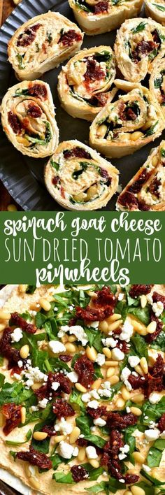 Healthy Food InspirationThese Spinach Goat Cheese Sun Dried Tomato Pinwheels are the perfect appetizer! Packed with delicious flavor and SO easy to make, they're ideal for cocktail parties, picnics, ladies nights, or even dinner! Yummy Appetizers, Appetizers For Party, Appetizer Recipes, Pinwheel Appetizers, Dip Recipes, Halloween Fingerfood, Vegetarian Recipes, Cooking Recipes, Kitchen Recipes