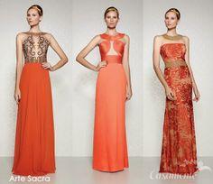 Madrinhas de casamento: Vestidos de festa longos cor laranja