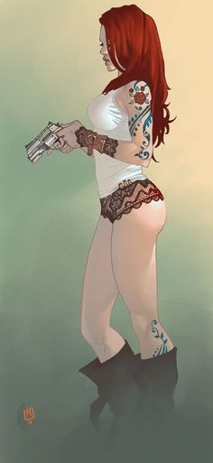 red head woman with gun (from http://mishkin.canalblog.com)