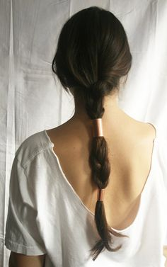Has anyone ever seen this before?! This is such a great idea! #copper hair tubes over a simple braid. I #love it!!