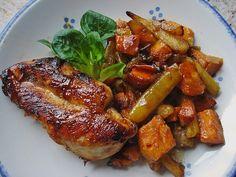 Senf - Honig - Hühnchen mit geröstetem Gemüse, ein sehr schönes Rezept aus der Kategorie Geflügel. Bewertungen: 16. Durchschnitt: Ø 3,9.