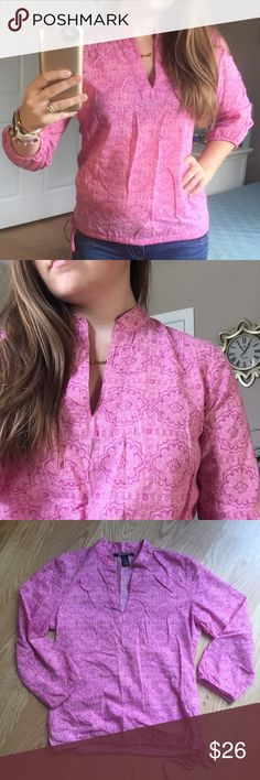 •new• Lucky Brand Top Pre-Loved Lucky Brand Blouse. Pretty pink background with purple print on top.   * Size X-Small  * Good Used Condition  * No Stains  * No Piling  * 100% Cotton  * Cinches/Ties at bottom    No Trades No Mercari No Off Posh Sales Crazy Low Offers Will Be Declined Lucky Brand Tops Blouses