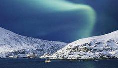 Northern lights and Hurtigruten (The Norwegian Coastal Voyage) in Havøysund, Norway - Photo: M. Horender
