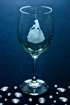 Disney Princess Belle Etched Wine Glass