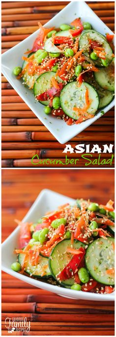 I love this Asian Cucumber Salad because it is so full of flavor and very low on calories. I really like how colorful it is too with the red peppers, carrots, and my favorite- edamame. Makes a great side dish.