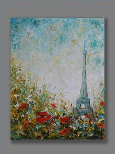Paris Painting Acrylic Abstract Painting Flowers Painting