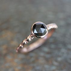 Black Diamond Rose Cut and Hand Carved 14k Rose Gold Band and Modern Vintage Design on Etsy, $998.00