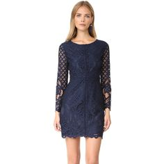 cupcakes and cashmere Spence Fitted Lace Dress ($120) ❤ liked on Polyvore featuring dresses, ink, longsleeve dress, lace dress, form fitted dresses, fitted cocktail dresses and long sleeve lace dress