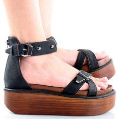 Black Ankle Strap Buckles Flatform Womens Platform Wedge Low