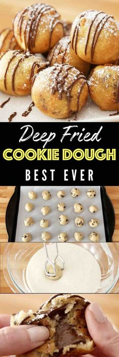 Deep Fried Cookie Dough – OMG seriously the best dessert ever! Enjoyed the deep-fried cookie dough awesomeness of the state fair all year round. Chocolate chip cookie dough dipped in homemade batter, and fried to a fluffy, golden crispy ball with a warm and melty chocolate chips inside. Quick and easy recipe. Perfect for party desserts. No bake, vegetarian. Video recipe.  | Posted By: DebbieNet.com