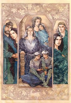 Descendants of Thingol by Gold-SevenLeft: Lúthien and Fuzzy Face (Beren); Centre: Dior and Nimloth, with the children Elwing, Eluréd, and Elurín; right: Thingol and Melian. Artist cautioned viewers to not debate the hair colors.  So, I won't. :) But, ~tears~ the Nauglamir on Dior!  Damn silmaril!  I love the leggings on the twin boys, so cute!