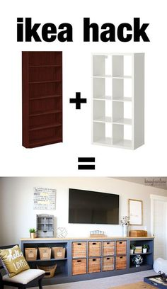 this ikea hack is awesome! She took a bookcase and an old IKEA EXPEDIT (now IKEA. this ikea hack is awesome! She took a bookcase and an old IKEA EXPEDIT (now IKEA KALLAX) and made this long storage unit/tv console. Billy Ikea, Ikea Billy Bookcase Hack, Bookcase Tv Stand, Diy Bookcases, Diy Farmhouse Table, Farmhouse Style, Farmhouse Office, Farmhouse Furniture, Farmhouse Ideas