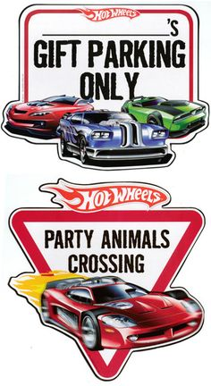 Hot Wheels Wall Accents - 3 Race Cars Garage/Party Wall Signs